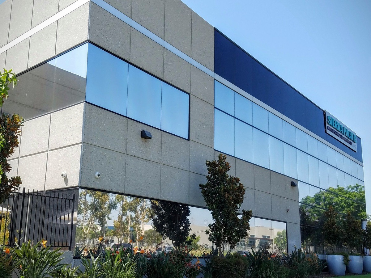 Commercial Exterior Silver 20 Reflective Window Film Long Beach on exterior blinds, exterior window film, exterior window color, exterior accessories, exterior window shade,